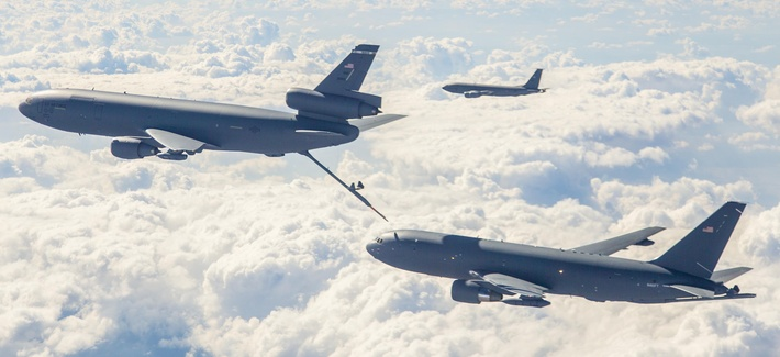 An Air Force KC-10 refuels a new KC-46 tanker during flight testing.
