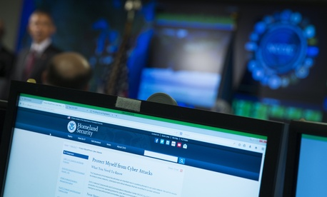 A view of a computer screen is seen as President Barack Obama speaks at the National Cybersecurity and Communications Integration Center in Arlington, Va., Tuesday, Jan. 13, 2015.