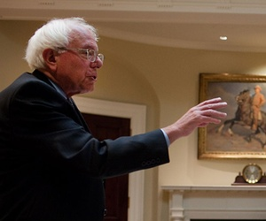 Obama and Sanders joke at a meeting at the White House in 2010.