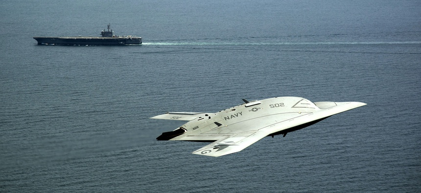 An X-47B UAV made a historic launch from the aircraft carrier USS George H.W. Bush on May 14, 2013.