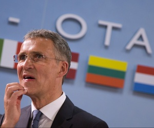 NATO Secretary General Jens Stoltenberg waits for the start of a meeting of the North Atlantic Council at NATO headquarters in Brussels on Thursday, May 19, 2016.