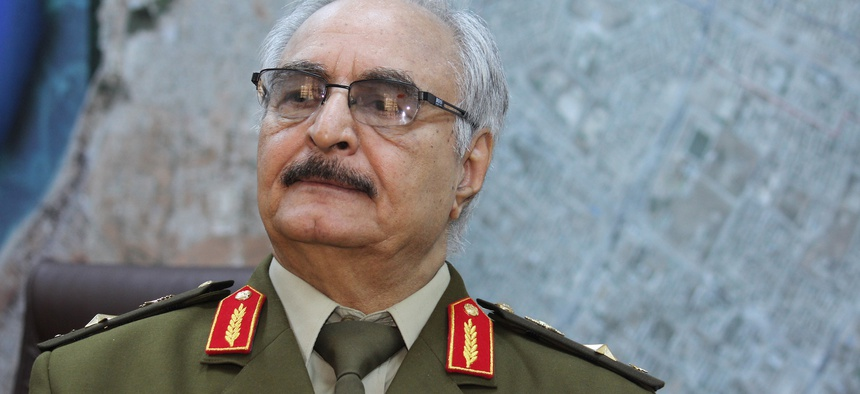 Gen. Khalifa Hifter, Libya's top army chief, speaks during an interview with the Associated Press in al-Marj, Libya, March 18, 2015.