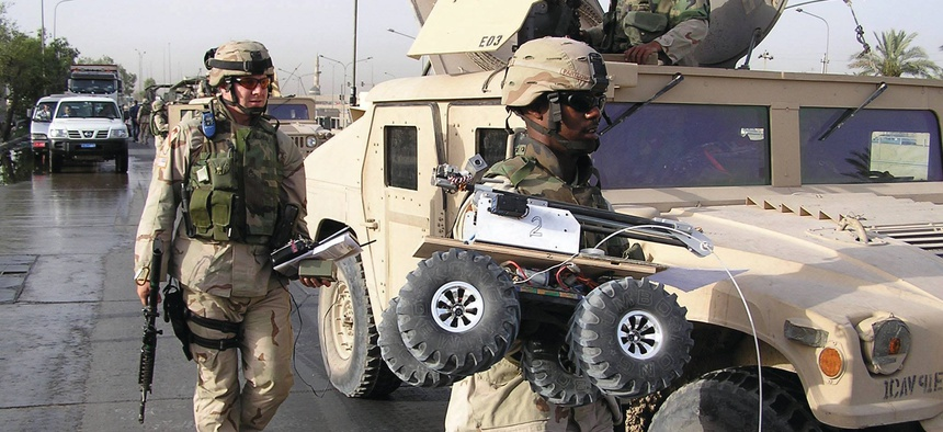 From the early days of the U.S. Army's Rapid Equipping Force: the 1st Cavalry Division sets out to deploy the Marcbot system in Iraq in 2004.