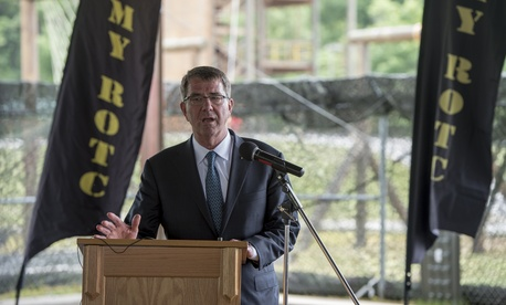 Secretary of Defense Ash Carter speaks during a press conference at Fort Knox, Ky., June 22, 2016.