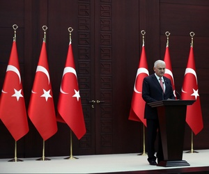 Turkey's Prime Minister Binali Yildirim announces the details of an agreement reached with Israel, in Ankara, Turkey, Monday, June 27, 2016.