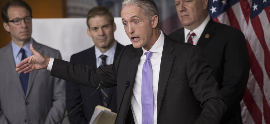 House Benghazi Committee Chairman Rep. Trey Gowdy, R-S.C., second from right, joined by other Republican members of the panel, discusses the release of his final report on the 2012 attacks on the U.S. consulate in Benghazi, Libya, June 28, 2016.