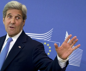 U.S. Secretary of State John Kerry leaves EU headquarters after a meeting with European Union High Representative Federica Mogherini in Brussels on Monday, June 27, 2016.