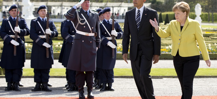 US President Barack Obama and German Chancellor Angela Merkel, pictured here April 24, 2016 in Hannover, will meet again this week with NATO member heads of state, in Warsaw, Poland.