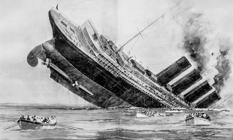 The 1915 sinking of the Lusitania backed President Woodrow Wilson into a corner.