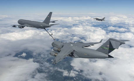 The KC-46A Pegasus connected in flight with an F-16 Fighting Falcon on July 8 and a C-17 Globemaster III on July 12.