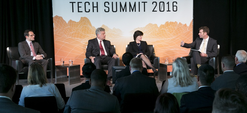 Will Roper, director of the Strategic Capabilities Office, left, at the Defense One Tech Summit, in Washington, D.C., June 10, 2016.