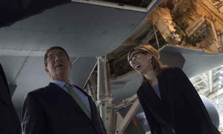 Boeing Defense CEO Leanne Caret gives Defense Secretary Ash Carter a tour of a Boeing KC-46 at at the Boeing facilities in Seattle on March 3, 2016.
