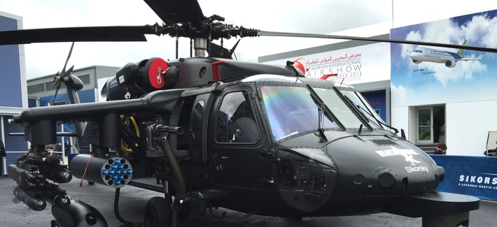 At the 2016 Farnborough Air Show, Sikorsky showed off a new upgrade to its popular Black Hawk helicopter with side weapons pylons and a chin sensor turret.