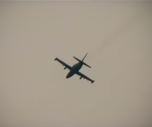 Armed L-39 trainer plane, July 28, 2012, over Aleppo.