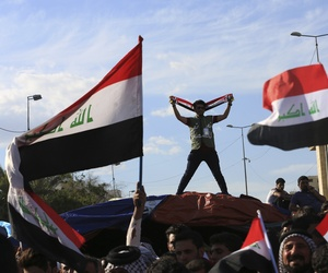 Protestors occupy the Green Zone in Baghdad, Iraq, Thursday, March 31, 2016.