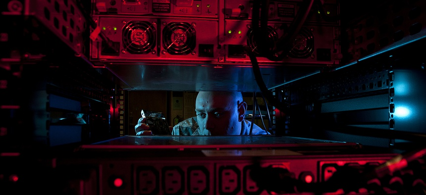A U.S. Air Force network administrator at Altus Air Force Base, Okla., Jan. 24, 2014.