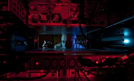 A U.S. Air Force network administrator at Altus Air Force Base, Okla., Jan. 24, 2014.