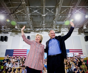 Democratic presidential candidate Hillary Clinton, and Sen. Tim Kaine, D-Va., participate in a rally at Northern Virginia Community College in Annandale, Va., Thursday, July 14, 2016.