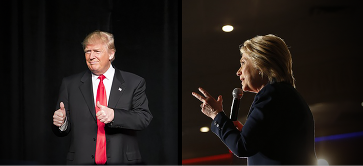 At left, Donald Trump speaks at a campaign event, Feb. 21, 2016, in Atlanta; at right, Hillary Clinton speaks at a rally, June 2, 2016, in El Centro, Calif.