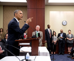 President Barack Obama the House Democratic Caucus at the U.S. Capitol, June 12, 2015.