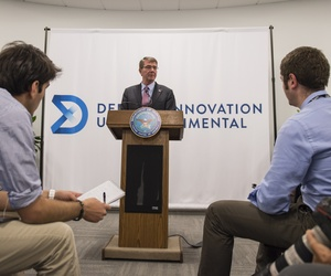 Secretary of Defense Ash Carter holds a press conference at the new Defense Innovation Unit Experiment office in Boston, Mass., July 26, 2016.