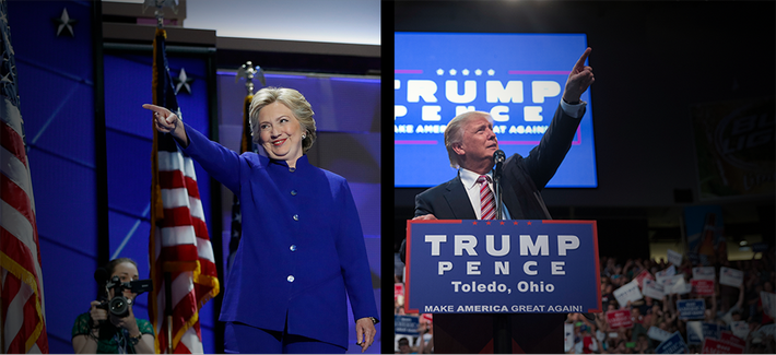 At left, Hillary Clinton at the Democratic National Convention, July 27, 2016; and Donald Trump at a campaign rally the same day in Toledo, Ohio.