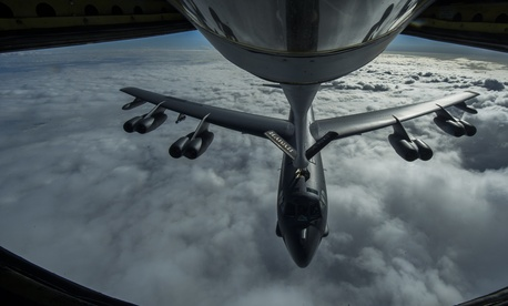 A B-52 Stratofortress is refueled in flight on April 2, 2014 over the Pacific Ocean near Joint Base Pearl Harbor-Hickam, Hawaii.
