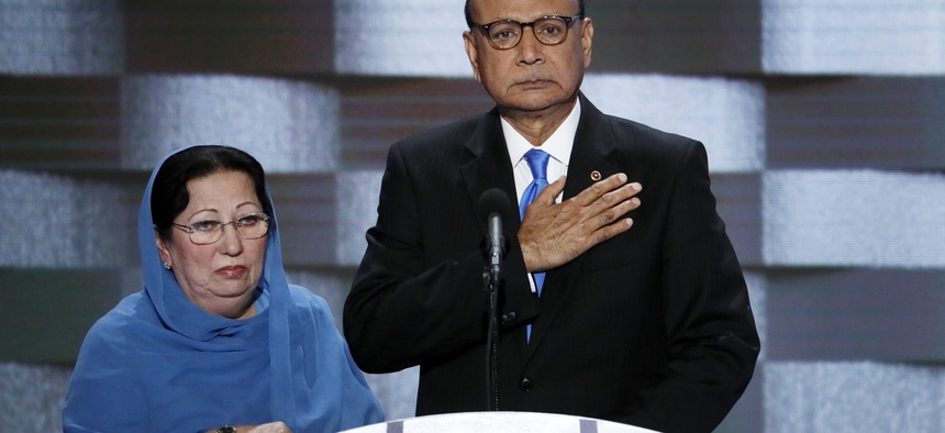 Gold Star parents Khizr and Ghazala Khan, father and mother of late US Army Capt. Humayun S. M. Khan spoke at the Democratic National Convention in Philadelphia , Thurs, July 28, 2016.
