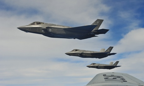 F-35A Lightning IIs perform an aerial refueling mission with a KC-135 Stratotanker May 13, 2013, off the coast of northwest Florida.