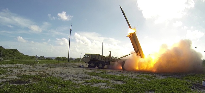 A Terminal High Altitude Area Defense (THAAD) interceptor is launched from a THAAD battery located on Wake Island, during Flight Test Operational (FTO)-02 Event 2a, conducted Nov. 1, 2015.