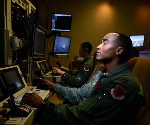 Maj. Bishane, a 432nd Aircraft Maintenance Squadron MQ-9 Reaper pilot, remotely controls an aircraft from Creech Air Force Base, Nev.
