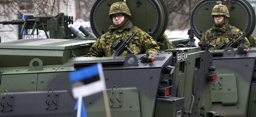 Estonian troops parade in Narva, Estonia, on Feb. 24, 2015.