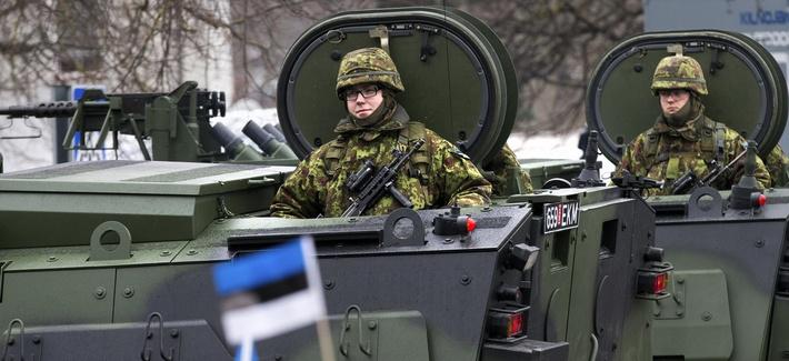 Estonian troops parade in Narva, Estonia, on Feb. 24, 2015.