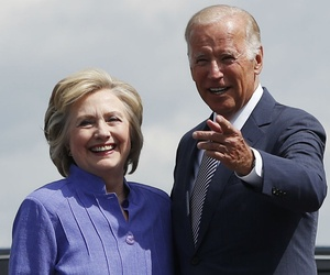 Clinton and Biden arrive at the Wilkes-Barre/Scranton International Airport on Monday.