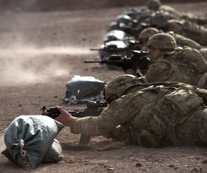 U.S. Soldiers assigned to East African Response Force, Combined Joint Task Force-Horn of Africa (CJTF-HOA), fire M4 carbines during a live-fire exercise in Djibouti, March 2, 2016.
