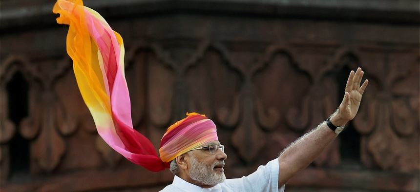 Indian Prime Minister Narendra Modi waves at the crowd after his address during the Independence Day function at the Red Fort monument in New Delhi, India, Monday, Aug. 15, 2016.