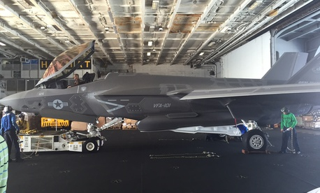 An F-35C aboard the USS George Washington, August 16, 2016.