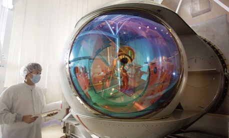 Close up of the Lockheed Martin Airborne Laser turret in a clean room.