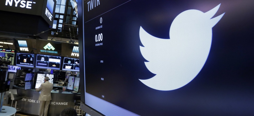 The Twitter logo appears at the post where it trades, on the floor of the New York Stock Exchange, Friday, June 17, 2016.