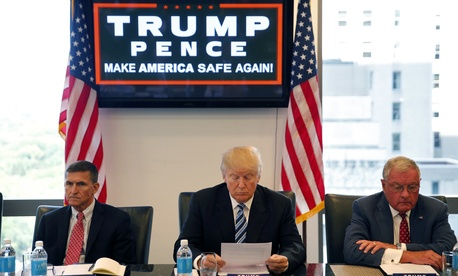 Donald Trump received his first classified intelligence briefing Wednesday. He also held a national security roundtable at Trump Towers with retired Lt. Gen. Mike Flynn, left, and Ret. Army Lt. Gen. Keith Kellogg, right, Wed. Aug. 17, 2016.