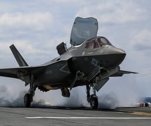 An F-35B during tests aboard the USS Wasp in 2015.