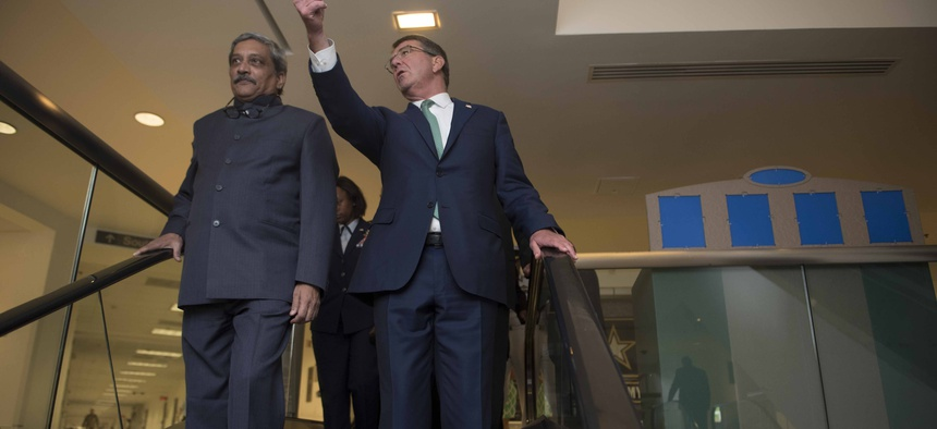 Secretary of Defense Ash Carter gives Indian Minister of Defence Manohar Parrikar a tour of the Pentagon, Aug. 29.
