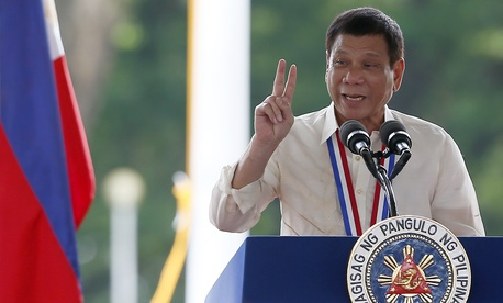 Philippine President Rodrigo Duterte at a wreath-laying ceremony in observance of National Heroes Day, Monday, Aug. 29, 2016 at the Heroes Cemetery in suburban Taguig city, east of Manila, Philippines.