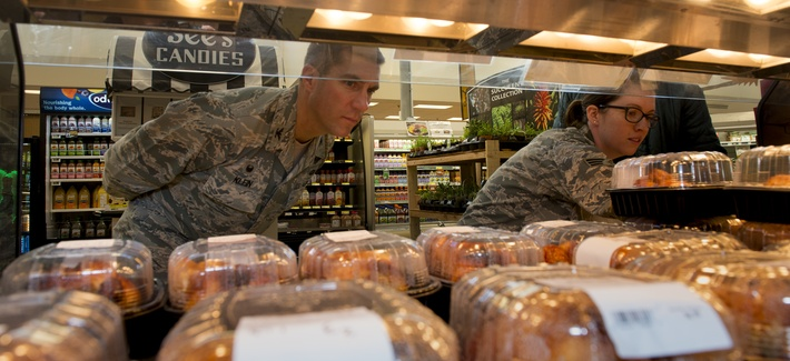 U.S. Airmen conduct a public health inspection at the Travis AFB Commissary, Aug 5, 2016, Travis AFB, Calif.