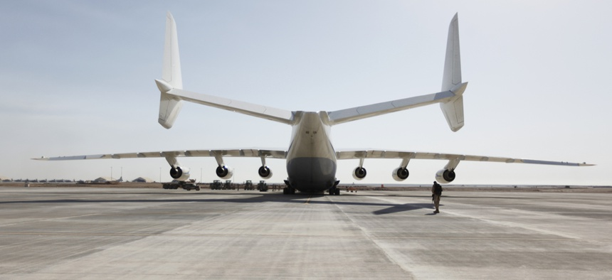 An Antonov An-225 cargo plane at Camp Bastion, Afghanistan, in March 2011.