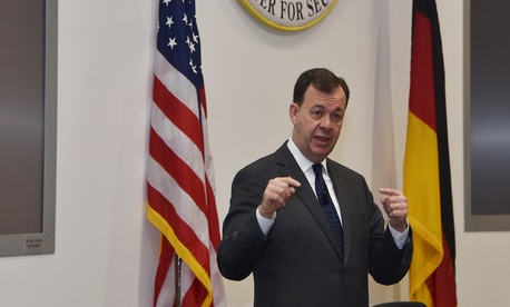 Then-U.S. Department of Homeland Security Deputy Assistant Secretary for Cybersecurity and Communications Gregory Touhill speaks at the George C. Marshall European Center, Dec. 15, 2015.