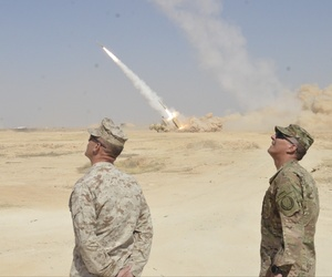 U.S. commanders observe a High Mobility Artillery Rocket System strike that destroyed a building housing Da'esh (an Arabic acronym for ISIL) fighters near Haditha, Iraq, Sept. 7, 2016.