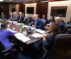 President Obama meets with members of the NSC in 2014.