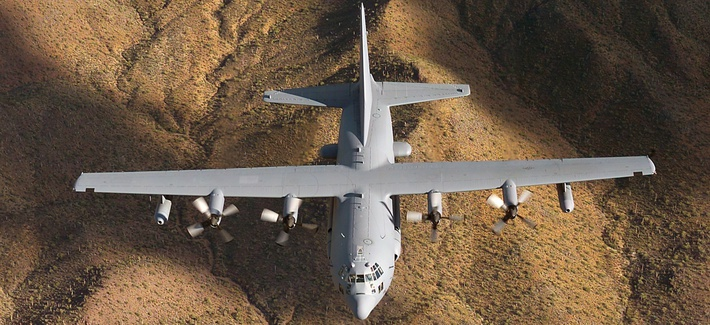 The EC-130H Compass Call has a wingspan of 132 ft. 7 in. and can fly 2,295 miles unrefueled.