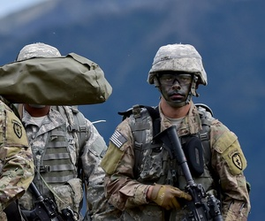 Paratroopers of the U.S. Army's 25th Infantry Division, after executing a joint forcible entry exercise at Joint Base Elmendorf-Richardson, Alaska on Aug. 23, 2016.